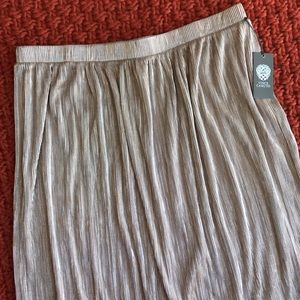 Vince Camuto Rose Gold Crushed Foil Pleated Skirt